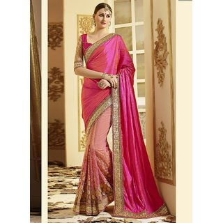 Swaron Pink Net Embroidered Saree With Blouse
