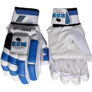 KDM Sports Plus Batting Gloves (Free Size White Blue)