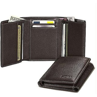 Fashion Clubs Brown Pure Leather Tri-fold Wallet for Men