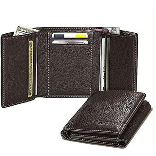 Brown Pure Leather Tri-fold Wallet by Fashion Clubs