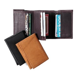 Tri Fold Leather Wallet for women