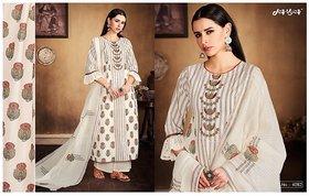 Malas Cream designer cotton suit dupatta