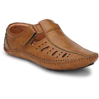Real Blue men TAN Leather Casual Slip On Sandal