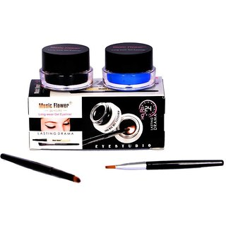 Music Flower Long Wear Gel Eyeliner Smudge Proof  Waterproof (Black And Blue)