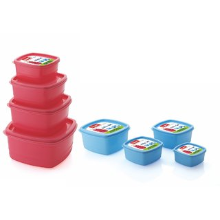 Airtight Plastic Food Storage Containers Set of 8 PCS (1350 ml 750 ml 500 ml 250 ml) Pink and Blue