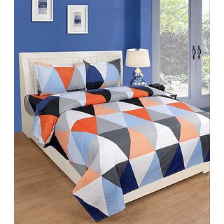 Choco Multi Supersoft Blue Anu Double Bedsheet with free Pillow Cover Pack of 1