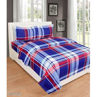 Choco Blue Check anu Supersoft Double Bedsheet with 2 Pillow Cover Pack of 1