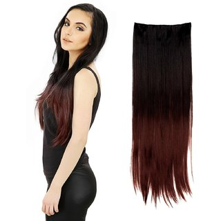 Kelley Black Burgundy Heighted at bottom Straight Synthetic 24 inch Hair Extension(Black Burgundy Heighted)