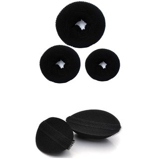 Out of Box Hair Styling Bun Maker Twist Curler Tool hair Clip Sponge Donut-set Of 3 (Large Medium Small) plus set of 2 princess hair puff volumizer