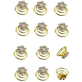 Kauberi Jewels Wedding Prom Crystal Rhinestone Hair Pins Trinket Ornament Accessories Hair Clip, Hair Accessory Set (Pack of 12)