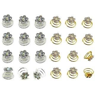 Kauberi Jewels 24pcs Bridal Wedding Prom Silver Crystal Flower Hair Coils Spirals Twists Pins