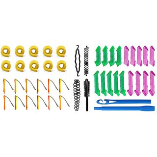 Out Of Box Self Holding Roller Rods 10 Pieces Plastic Perming Rollers 12 Pieces Hair Curler Magic Leverag As Seen On Tv Curlformers Spiral Hair Roll Curlers (18 Pcs) 1 Donut Maker 2 Bridal French Tool and 1 Round Comb