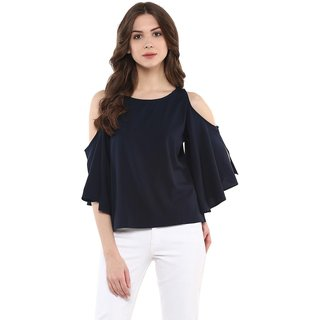 Klick2Style Casual 3/4th Sleeve with Slit  Cold Shoulder Solid Women's Top Black