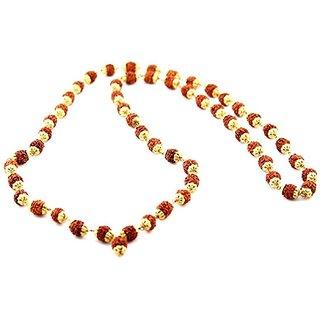 Rebuy 5 mukhi rudraksha mala with golden caping 108+1 Beads