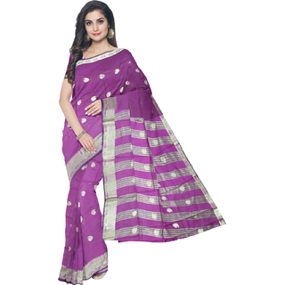 Rachna Purple Art Silk Printed Saree With Bluose(EX-BanarasiCollection-Purple)