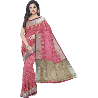 Rachna Red Art Silk Printed Saree With Bluose(EX-BanarasiCollection-Red)