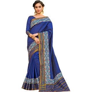Rachna Blue Art Silk Plain Saree With Blouse(SilkkenDobara1603)