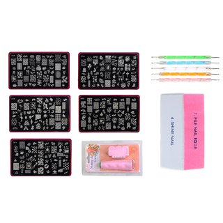 Nail Art Stamping Jumbo 5 Image Plates (Cf Plate) With Double- Sided Stamper Scraper Nail Art Buffer And Dotting Tool
