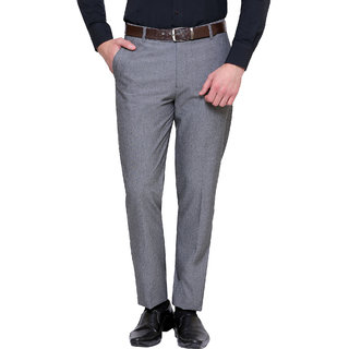 Inspire Steel Grey Slim Fit Formal Trouser
