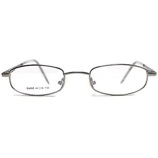 affable Rimmed Rectangle Unisex Spectacle Frame  A347 Silver Black  49 mm