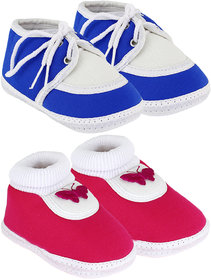 Neska Moda Pack Of 2 Baby Boys And Girls Pink And Blue Cotton Booties For 0 To 12 Months