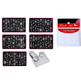 Royalkart Nail Art Stamping Jumbo 5 Image Plates (Cf Plate) With Silicone Stamper Scraper And Finger Tip Guide