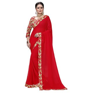 chiffon printed sarees with Blouse Piece