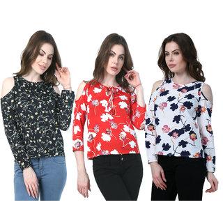 187a6407e0ee60 Klick2Style Cold Shoulder Tops Pack of 3 Red Leaf White   Black Floral Print