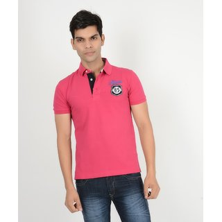 Yellow Tree TH-85 Pink Polo Neck T Shirt For Mens Good Quality Cotton Polo Neck T Shirt