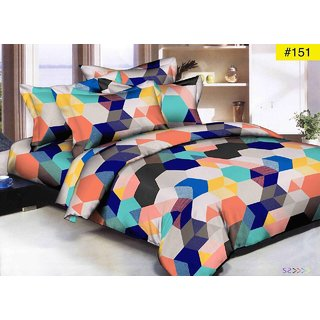 Home Berry Super Soft Geometric Double Bedsheet With 2 Pillow Covers ( SS-DBL-06)