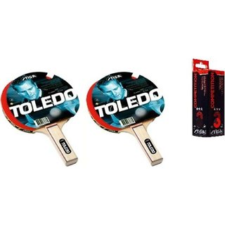 Stiga Combo of 2 Pcs Toledo TT Table Tennis Bats and 3 Pcs Stiga Competition Ping Pong Balls