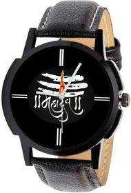 Mahadev Black Dial Black Leather Strap Watch For Boys