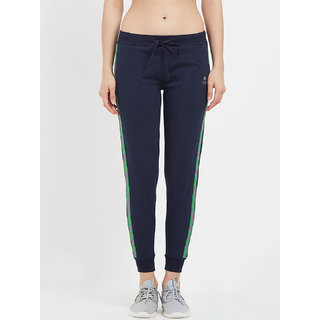 Tuna London Navy Blue Solid 95 Cotton +5 Lycra Fabric Joggers For Womens
