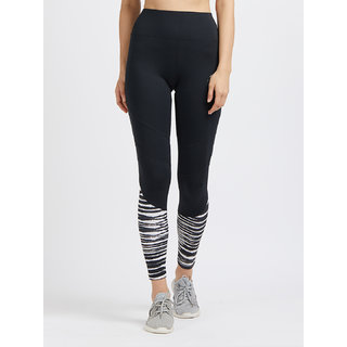 Tuna London Black Printed Polycotton Lycra Sports Tights Track Pant For Womens