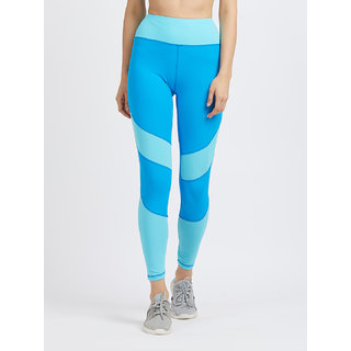 Tuna London Blue Printed Polycotton Lycra Sports Tights Track Pant For Womens