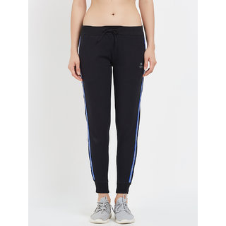 Tuna London Black Solid 95 Cotton +5 Lycra Fabric Joggers For Womens