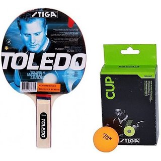 Stiga Combo of One Toledo Table Tennis Racquet and 6 Pcs Stiga Cup TT Balls