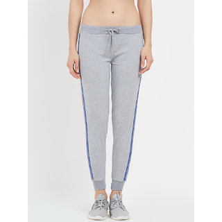 Tuna London Light Grey Solid 95 Cotton +5 Lycra Fabric Joggers For Womens