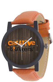 Criative Analog Blue Leather Mens Quartz Watch 6 month warranty