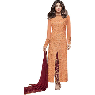 Salwar Suit for women's ( VH FASHION Present Net Semi-Stitched Anarkali Suit for women's color Top - Peach Bottom - Maroon Dupatta - Maroon Occasion - party wearoccasion wearfestival wearspecial look Sleeve - Full Neck Style - Broad Neck VHHR5