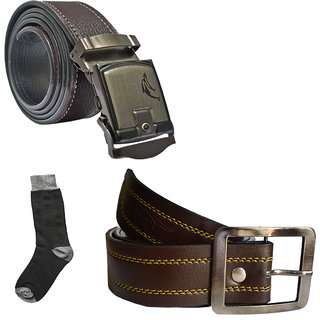 Sunshopping mens brown leatherite needle pin point buckle with brown leatherite auto lock buckle belts combo with black socks (Pack of three) (Synthetic leather/Rexine)