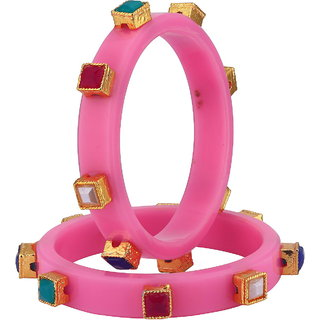 Sukkhi Stylish Pink colour plastic bangle for women
