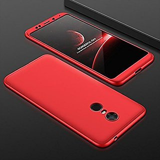 MOBIMON 360 Degree Full Body Protection Front Back Case Cover (iPaky Style) with Tempered Glass for RedMi Note 5 (Red)