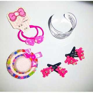 TheKS Little Princess Accessories (Combo of 6) 2 Pair Teddy Clips 1 Cap clip 2 Rubber Band 1 Bracelet (Assorted)