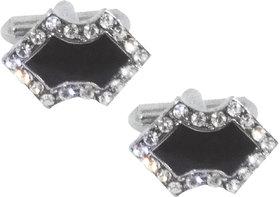 Cufflink Silver  Black with stone