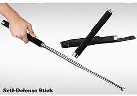 kudos Self Defense Safety Expandable Iron Baton Stick 65 cm with Cushion Grip