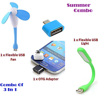 Combo 3 in 1 Portable Flexible design USB Fan, USB LED and Otg Adopter