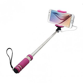 KSJ Mini Selfie Sticks with Aux cable for iPhone, Android, window phone, No bluetooth, No charging (Assorted Colors)