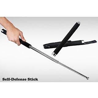kudos Self Defense Safety Expandable Iron Baton Stick 65 cm with Cushion Grip