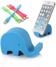 Combo of Elephant Mobile Stand and USB LED Light (Assorted Colors)